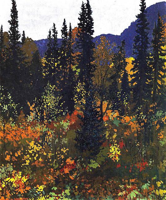 a Frank Johnston painting, autumn landscape colors