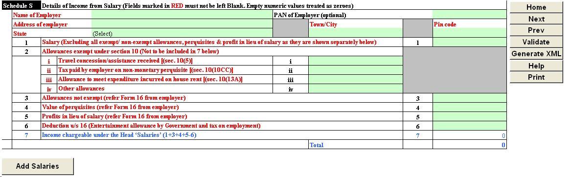 income tax return form itr 1