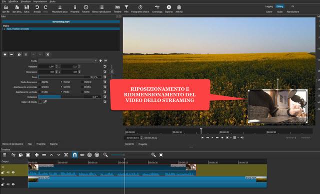ridimensionamento e riposizionamento del video su shotcut