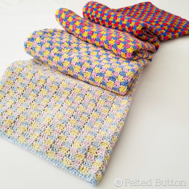 Trio Blanket--free crochet pattern by Susan Carlson of Felted Button; made with Scheepjes Whirl