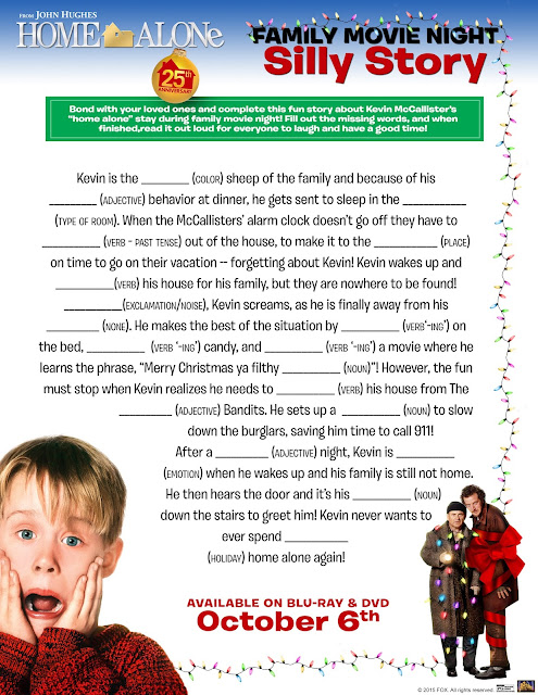 Home Alone Silly Story Printable