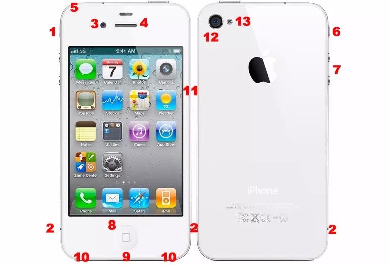 Bagian-Bagian Hardware iPhone 4S, Port, dan Tombol