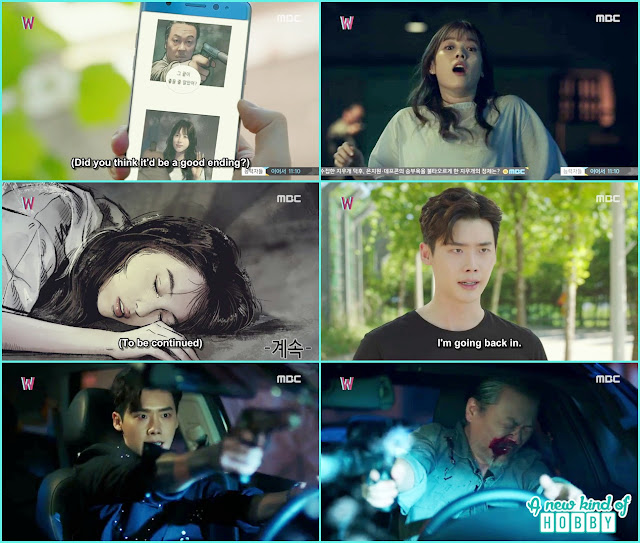 kang chul saw the webtoon online and go there in the webtoon world and shoot the killer - W - Episode 13 Review - The Hypothesis & Unexpected Twist