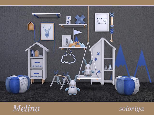 Melina Living Room Гостиная Мелина для The Sims 4 Комната Мелина, часть 2. Включает 12 предметов, 3 цветовых вариации. Предметы в наборе: - пуф - декоративные полки - функциональная полка - две картины с элементами деко - журнальный столик - книжный шкаф - комод - наклейки на стены - две подушки для кроликов - пол деко. Автор: soloriya
