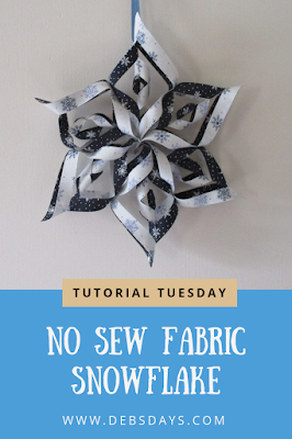 Homemade Fabric Snowflake Home Decor - No Sew Craft Project