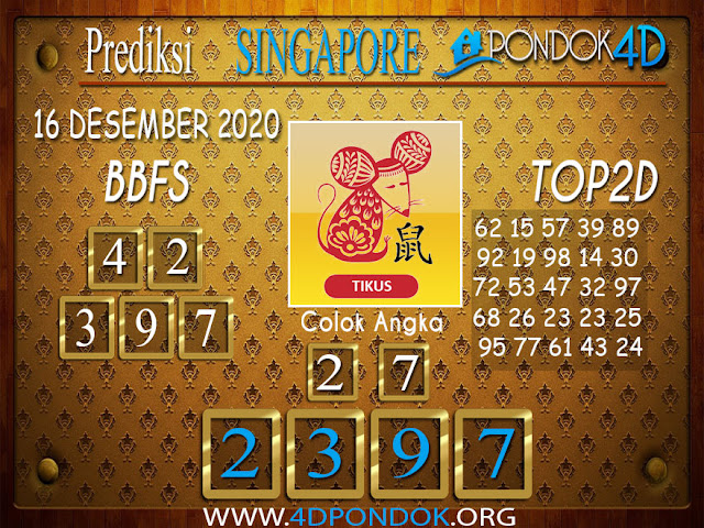 Prediksi Togel SINGAPORE PONDOK4D 16 DESEMBER 2020