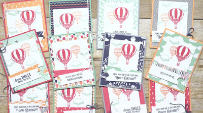 VIDEO: Stampin' Up! Lift Me Up + Carried Away Designer Paper Hot Air Balloon Card Set #stampinup Sale-a-bration 2017 #sab2017 Occasions Catalog
