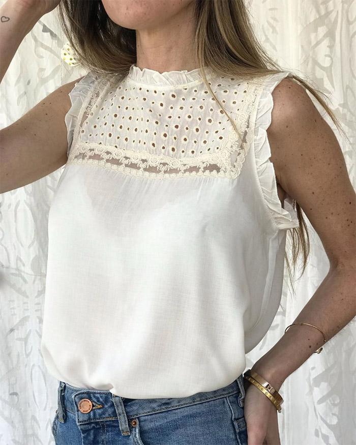 Blusas de moda 2020. Broderie y tul bordado primavera verano 2020 blusas.
