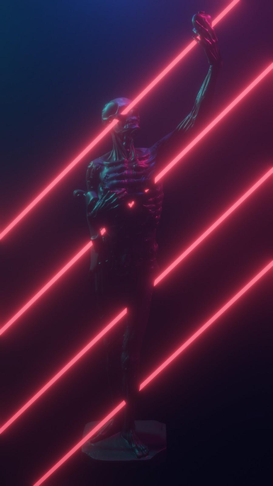 skull caveira neon dark in hd