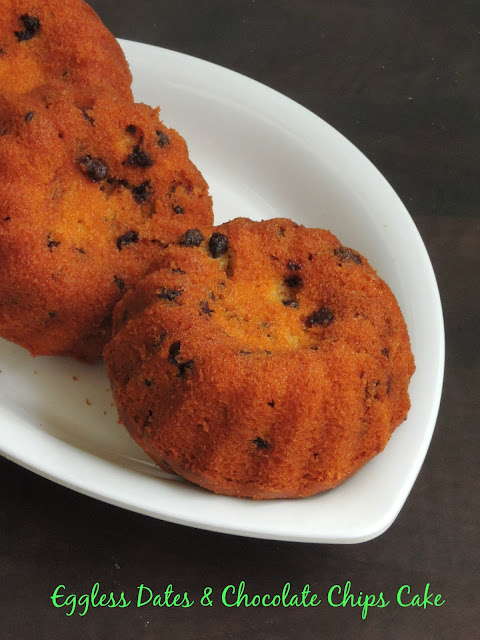 Eggless Dates cake with chocolate chips