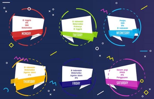 Desain Jadwal Pelajaran Keren, Kreatif, dan Minimalis