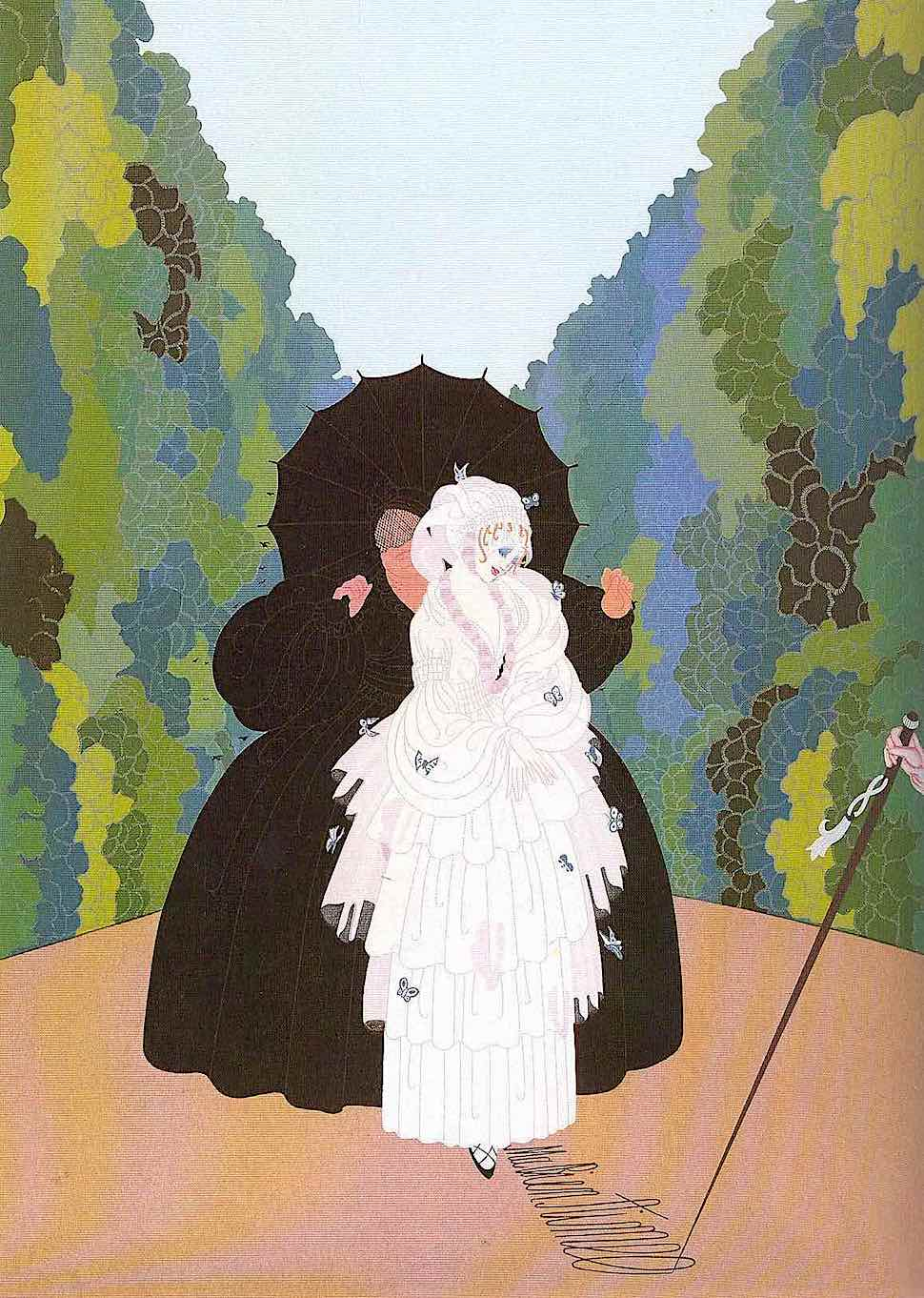 Erté, young woman with a chaperon