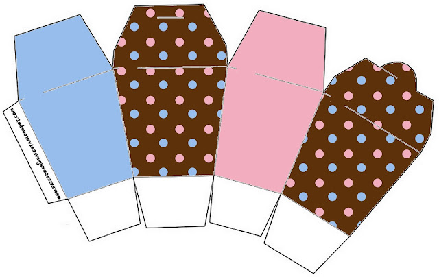 Pink and Light Blue Polka Dots in Chocolate Free Printable Chinese Take Away Box.