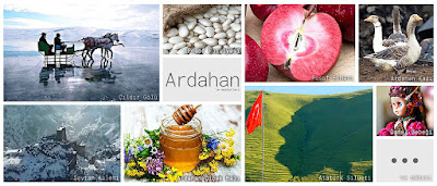 Ardahan'ın meşhur şeylerini gösteren resimlerden oluşan kolaj