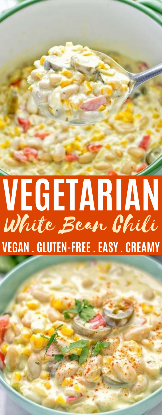 Vegetarian White Chili #vegan #recipes #chili #soup #comfortfood