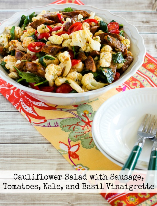Cauliflower Salad with Italian Sausage, Tomatoes, Kale, and Basil Vinaigrette  found on KalynsKitchen.com
