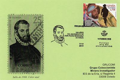 tarjeta, PDC, matasellos, sello, Pedro Menéndez, Avilés