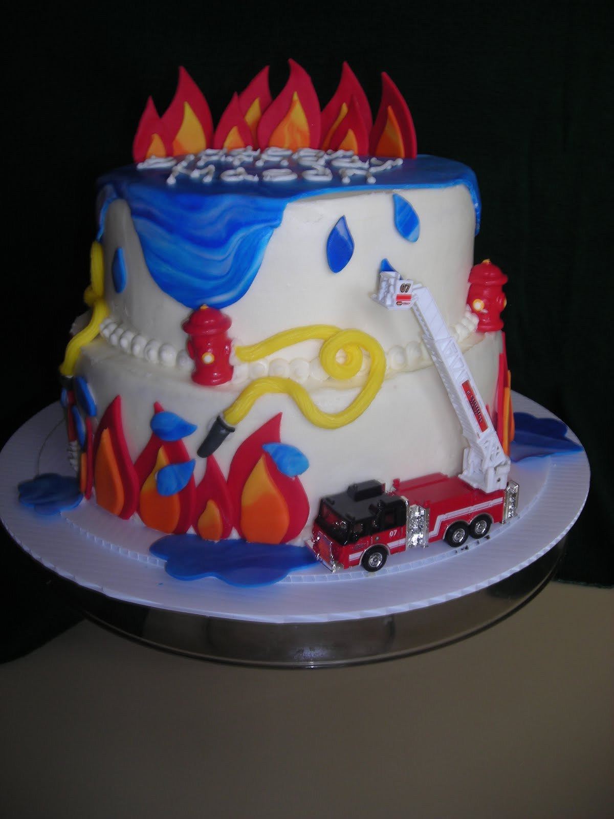 Pattycakes Fireman Theme Birthday Cake