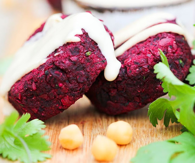 Roast Beetroot Falafels With Tahini Sauce