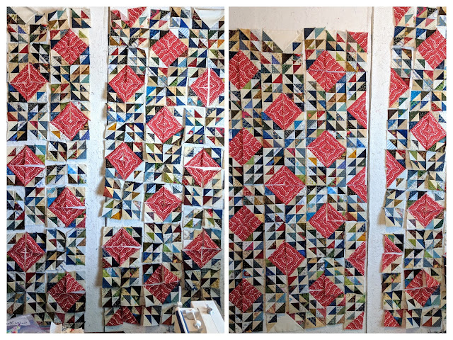 Two collaged photos show sewing progress on the Ocean Waves quilt blocks.