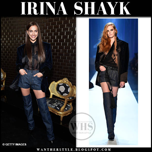 Irina Shayk in blue velvet blazer, denim shorts and denim boots jean paul gaultier fashion week style january 23