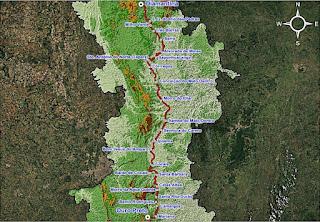 Mapa do Caminho dos Diamantes. Fonte IER.