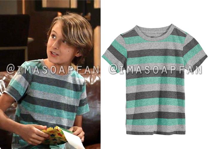 Danny Morgan, Porter Fastullo, Grey and Teal Green Striped T-Shirt, General Hospital, GH