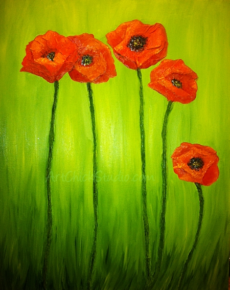 Poppy Painting Mixed Media