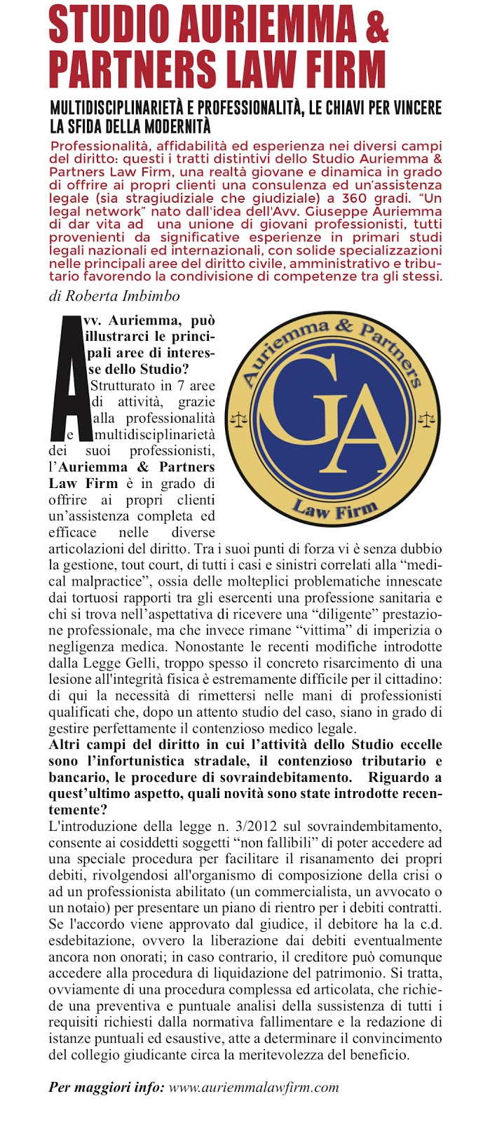 Auriemma Law Firm su Panorama n.51