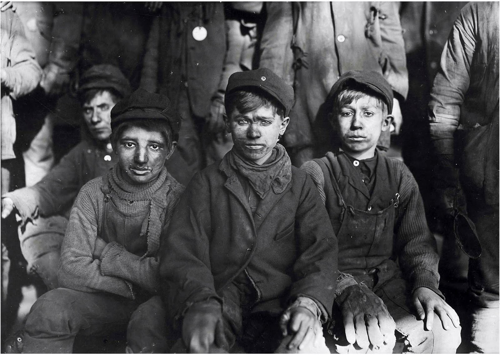 Group of Breaker Boys (1911 January), a photograph by Lewis Hine.