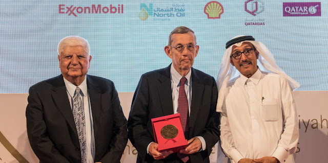 Image Attribute: Lee R. Raymond, Former Chairman, and CEO ExxonMobil Corporation receiving his 2018 Abdullah Bin Hamad Al-Attiyah International Energy Awards for Lifetime Achievement.