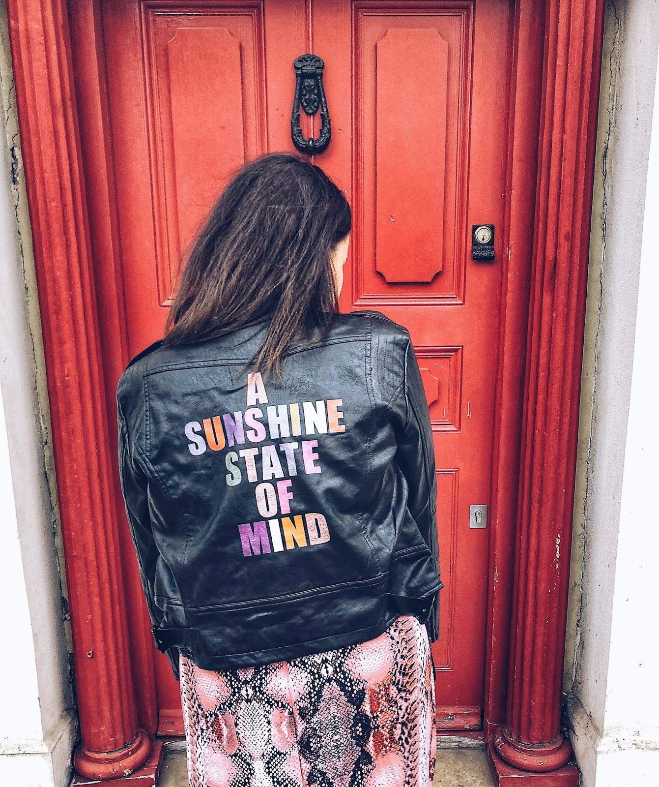 sunshine state of mind, leather jacket native rose, asos snakeskin dress, snakeskin dress 2018, positive vibes, mental health blogger