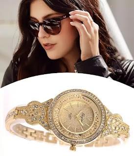 Lady Women Wrist Watch Gold Crystal Bracelet