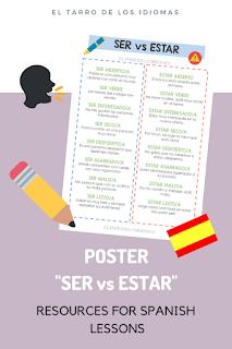 Ser y estar. Ficha para trabajar en clase de español. Spanish lesson Grammar #profedeele #spanishteacher