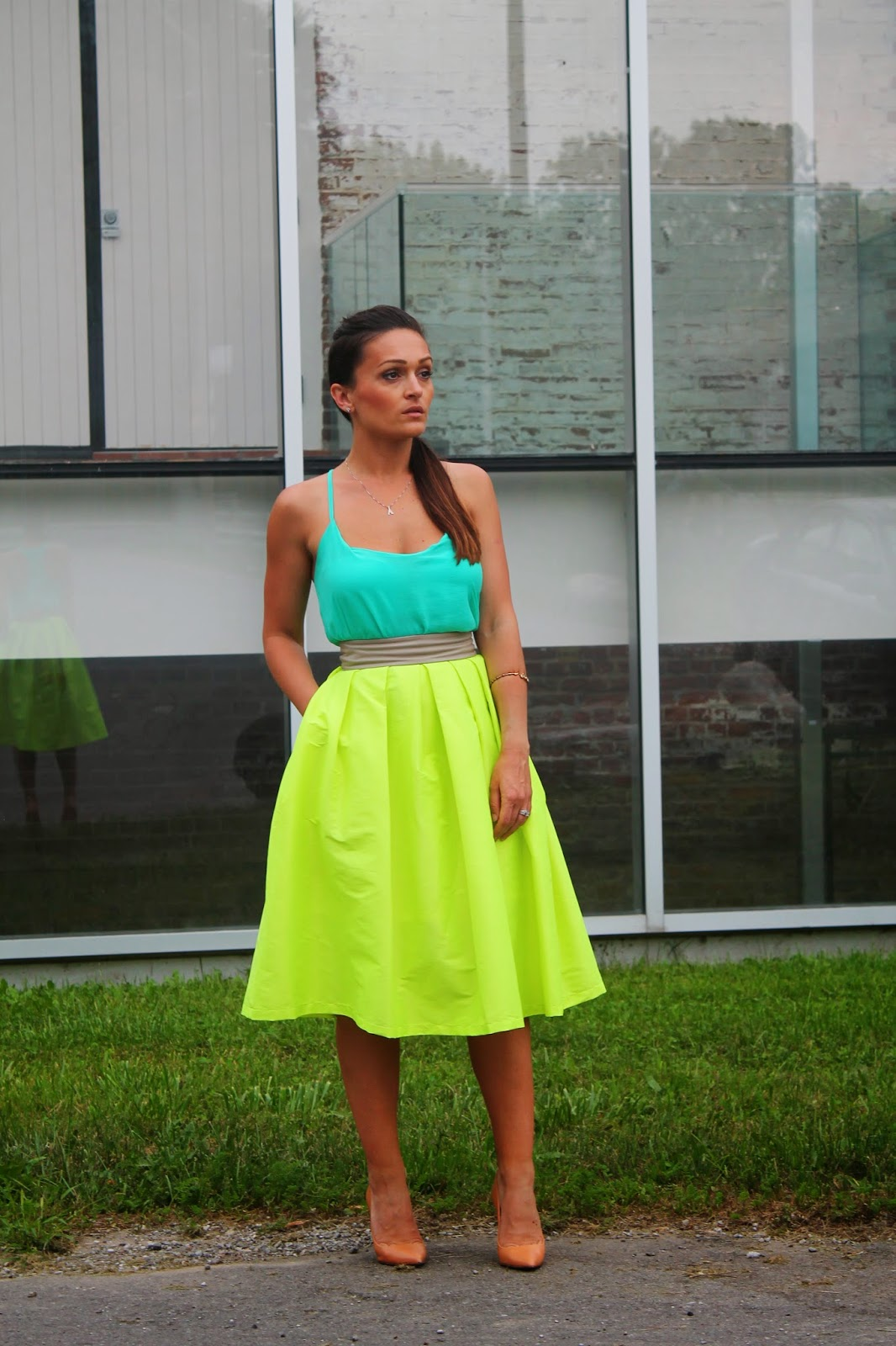 Neon skirt, Midi skirt, style inspo, canadian fashion blogger, toronto street style, blogerke, letnji outfit, summer outfit