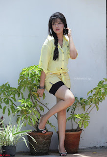 Abhirami Suresh in Light Lemon Green Tight Top black inner shorts spicy Pics February 2017 005.jpg