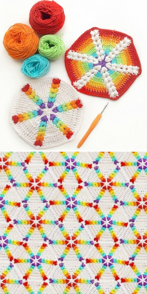 Rainbow Puff Hexagon - Free Pattern