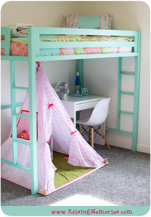 Teepee Play Tent and IKEA Desk under a Loft Bed