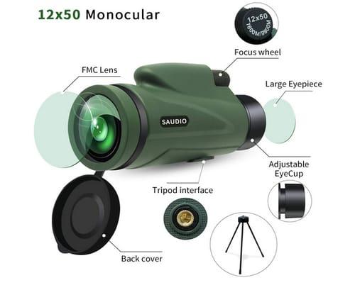 SAUDIO 12X50 HD Monocular Telescope