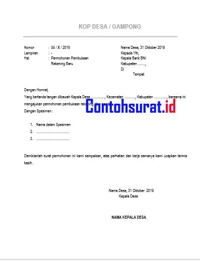 Surat Permohonan Pembuatan Pembukaan Rekening Bank BNI