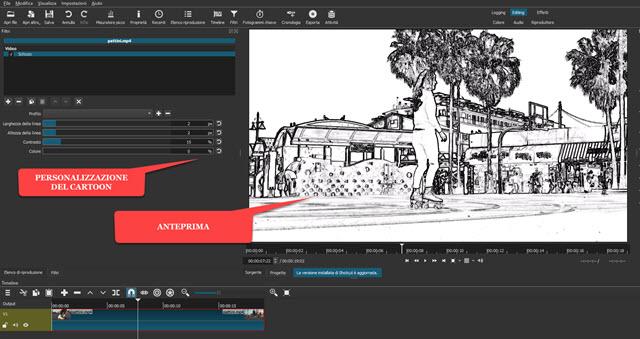 filtro schizzo su shotcut per convertire video in fumetti