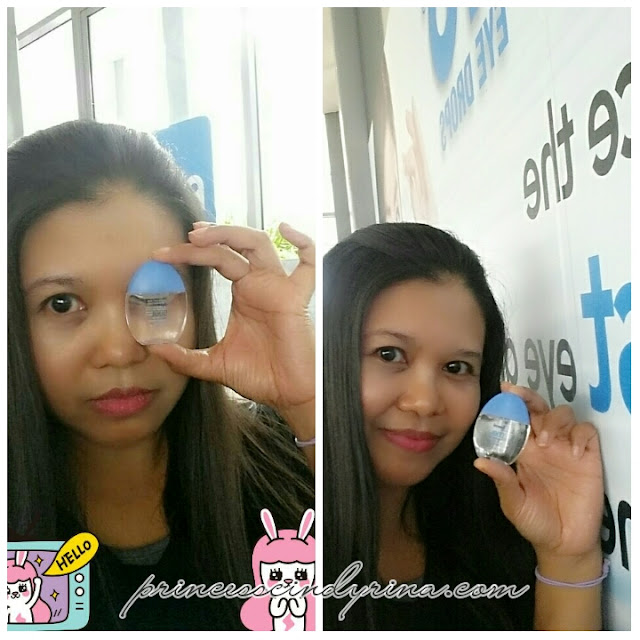 Girl posing with eye drop