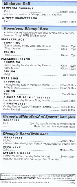 Walt Disney World Times Guide Back October 2009