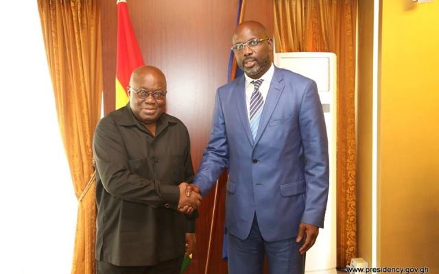Akufo-Addo congratulates President-elect of Liberia George Weah