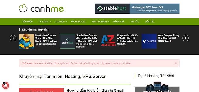 Canhme trang khuyến mãi giảm giá tên miền hosting