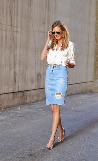 5c508f8faf0b I love the way that Olivia Palermo is wearing her shirt here so I decided to  try this out with my skirt!