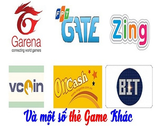 Thẻ Game : Vcion, Gate, Zing, Garena, Appota, Megacard ...
