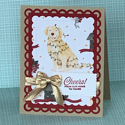 Golden Retriever-themed handmade greeting card using Stampin' Up! Sweet Stockings Designer Series Paper