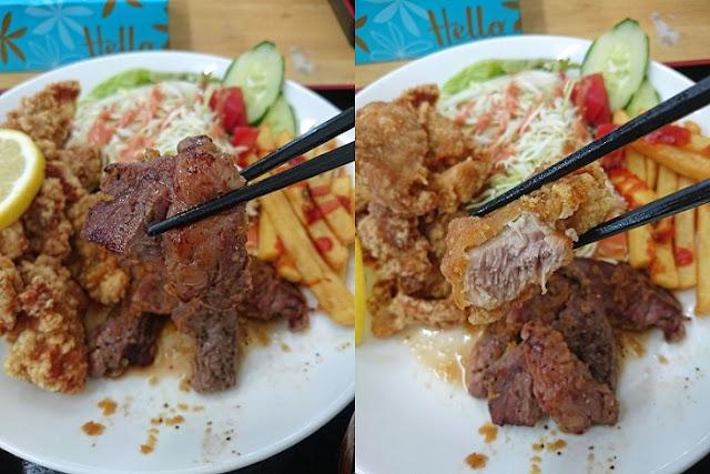 サイコロステーキとチキン唐揚げの写真