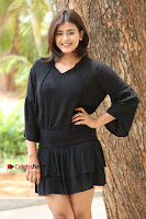 Actress Hebah Patel Stills in Black Mini Dress at Angel Movie Teaser Launch  0087.JPG